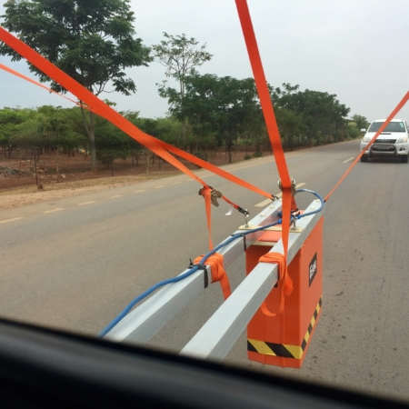 Ghz Horn Antenna attached to truck for road inspection